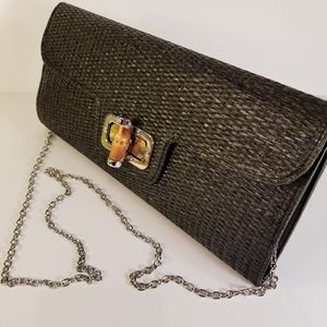Brown Toned Clutch with Bamboo Clasp